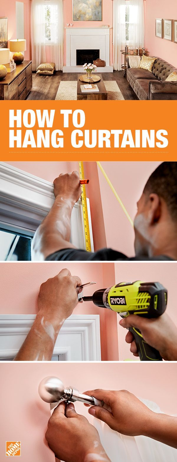 Hanging curtains is a great DIY project to transform your living room. Simply measure and mark your space, install hanging brackets in a stud or with anchors, place the rod and the curtains, and steam for a more polished look. Get a more detailed how-to on The Home Depot blog.