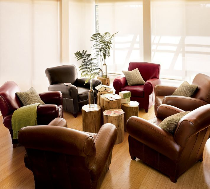 Manhattan Leather Club Chairs Grouped Around Varied Height