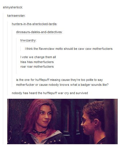 "These really should be the mottos of each house. | 21 Hilarious ""Harry Potter"" Tumblr Posts That'll Make You Realize Some..."