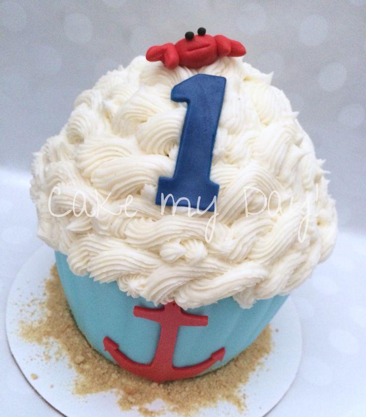 Nautical themed giant cupcake smash cake #cakemyday