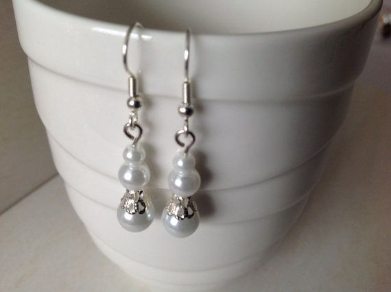 White Glass Pearl and Silver Beaded Earrings