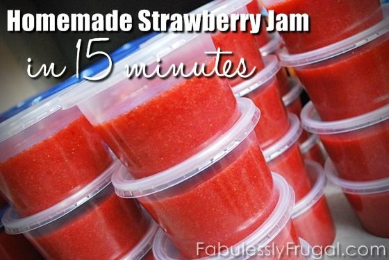 Easy recipe for strawberry jam for your freezer!  You can make a batch in 15 minutes!  Plus tips and tools to help you with your freezer jam making.