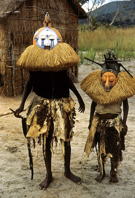 Yaka masquerade for initiation ceremony, near Kasongo Lunda, Zaire (now D.R.Congo), 1951