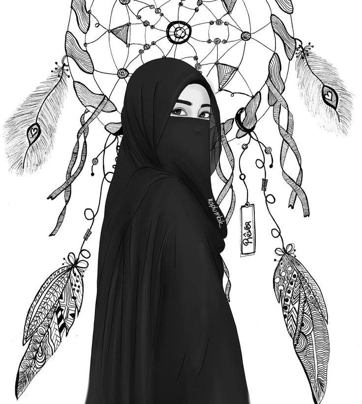 ANIME HIKAB GIRLKapalı kız çizimi Karakalem dijital