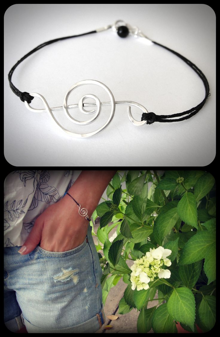 Sterling Clef bracelet on linen from JewelryByMaeBee on Etsy.