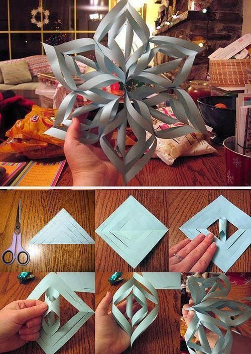 "How to Make a 3D Paper Snowflake | #Christmas | ""3D paper snowflakes look beautiful hanging in a window or on a wall. Fun for kids or adults, they are easy to make. Some like them for the Winter Holidays or just for the winter, but you may like them any time!"" On Wiki How                                                                                                                                                                                 More"