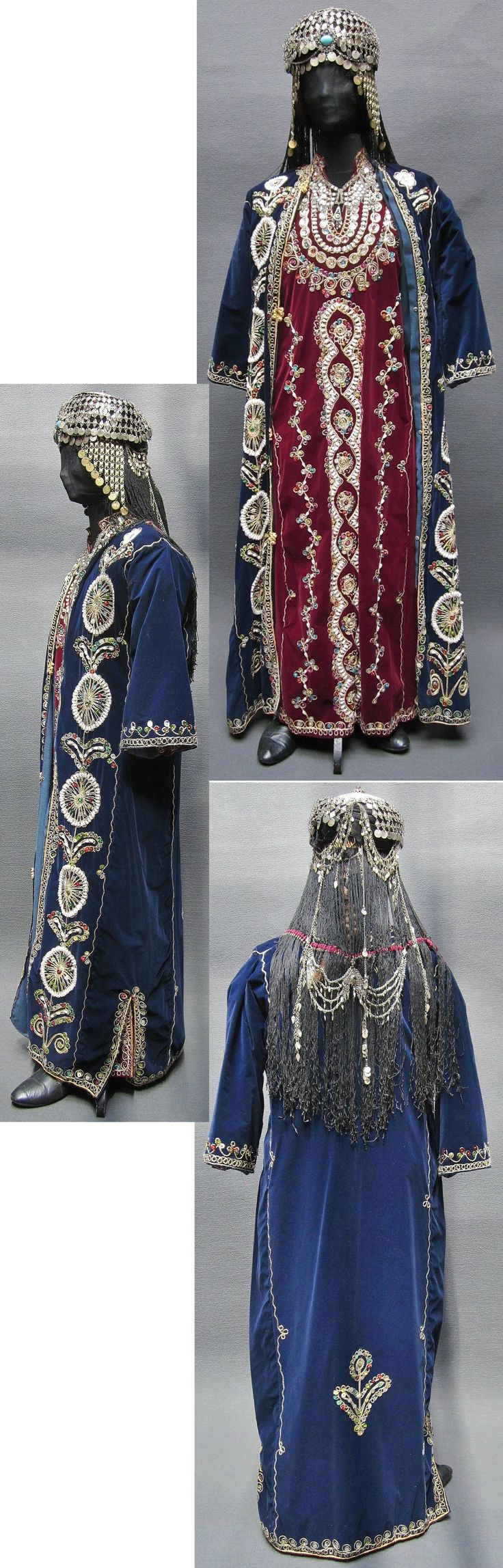 Traditional bridal/festive costume from the Urfa province.  1980s.  From the Arabic speaking population of the region.  Robe and caftan were purchased in the Urfa Çarşısı (Covered Bazaar) in 1987.  The 'başlık' (headgear) is antique. (Kavak Folklor Ekibi & Costume Collection - Antwerpen/Belgium).