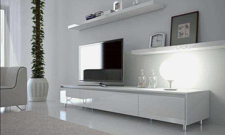 Simple white entertainment unit