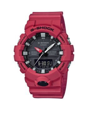 G-Shock Men's Men's Red Slim Ana-Digi With Black Front Light Button Watch - Red - One Size