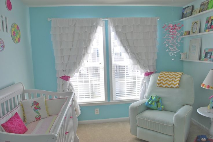 This girly, yet modern nursery features ruffled curtains! #nurseryNurseries Colors, Lilly Pulitzer, Baby Girls Nurseries Curtains, Inspiration Nurseries, Girls Room, Projects Nurseries, Pulitzer Nurseries, Ruffles Curtains, Baby Stuff