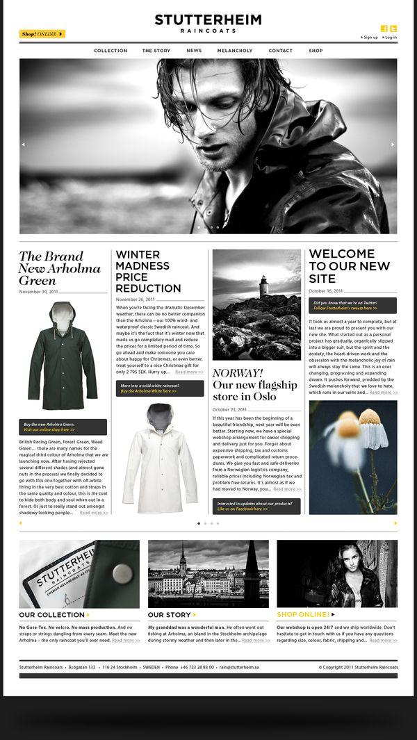 Stutterheim Raincoats by Morris Pinewood Stockholm , via Behance | #webdesign #it #web #design #layout #userinterface #website #webdesign < repinned by www.BlickeDeeler.de | Take a look at www.WebsiteDesign-Hamburg.de