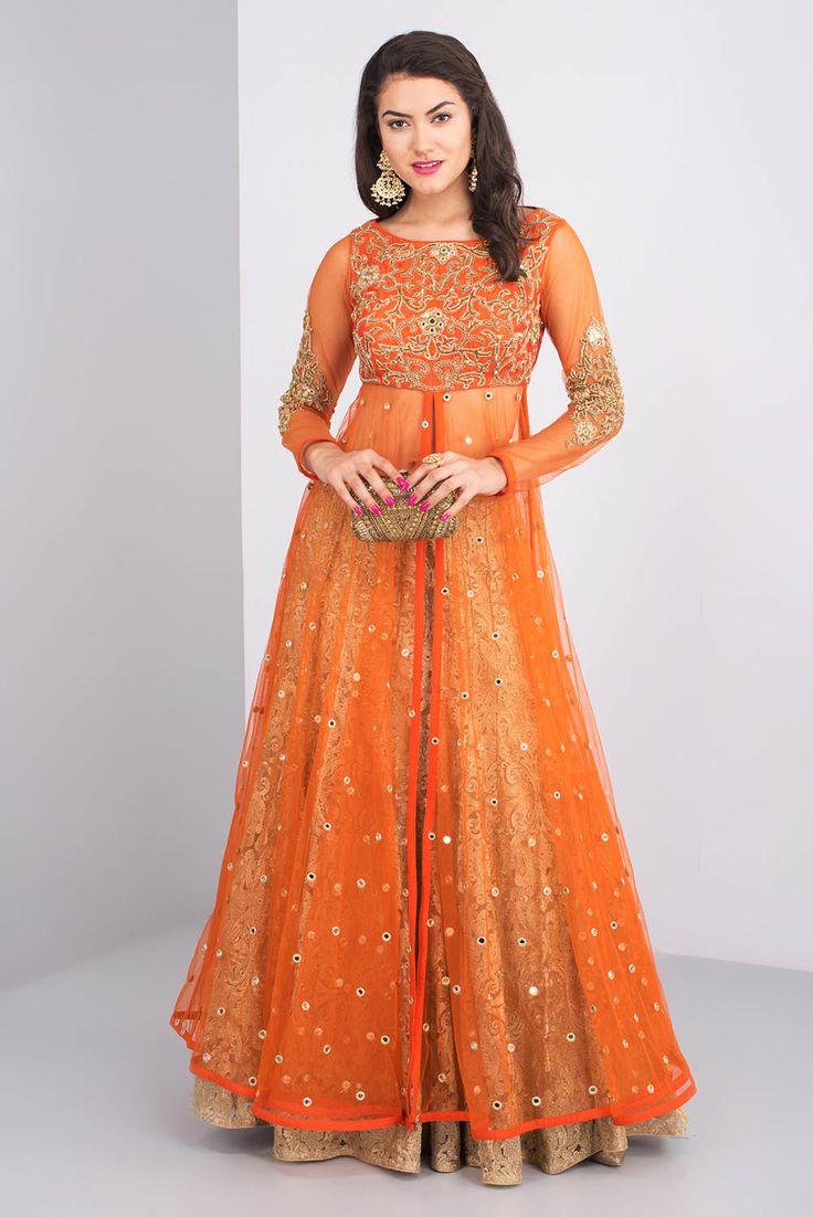 AKSHAY WADHWA Orange And Golden Anarkali Style Lehenga Set.