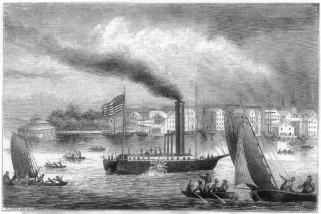 Significant Events of the American Industrial Revolution: Here is an image of the steamboat Clermont designed by Robert Fulton from the American Industrial Revolution.