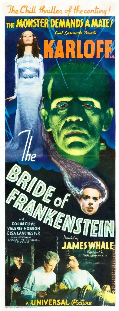 """Director James Whale's """"The Bride of Frankenstein""""; with Boris Karloff as the Monster and Elsa Lancaster as the Bride (and, in a brief cameo in the prologue, also as Mary Shelley)."""
