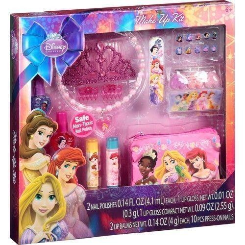Disney Princess 21 Piece Make Up Kit Nail Polish Lip Gloss Press On