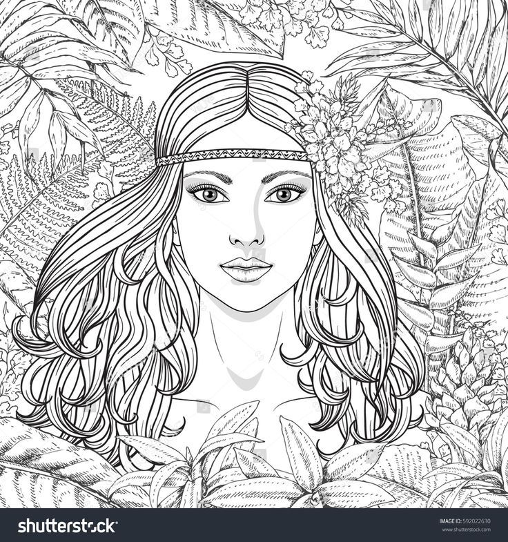 Hand drawn girl and branches and leaves of tropical plants. Black and white floral illustration coloring page for adult. Monochrome image of woman with long curly hair. Vector sketch.