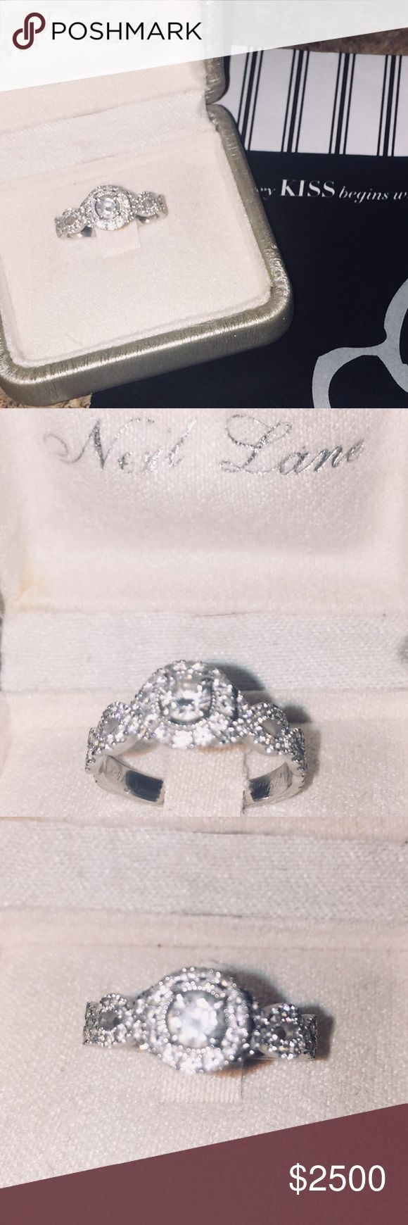 14K WHITE GOLD NEIL LANE DIAMOND ENGAGEMENT RING This 14 Karart white gold engagement ring is absolutely GORGEOUS!! Made by the best! This is a Neil Lane 1.3 Karat ring. Comes with papers and bought from kay jewelers. Its 1.3 karats! Just needs a little buffed and cleaned and it will look brand new. Retailed at 3800.00! Was bought 5-11-15. If u have any questions please feel free to ask me anything, thanks for stopping by! Kay Jewelers Jewelry Rings