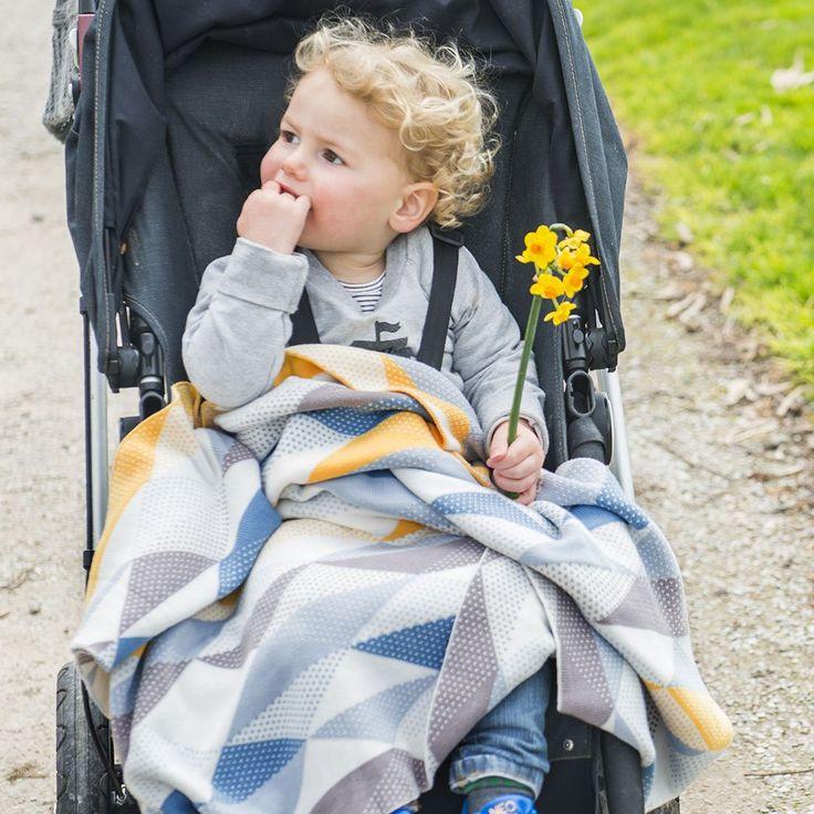 Weegoamigo Knitted Baby Blanket $79.95 - Geo Blue