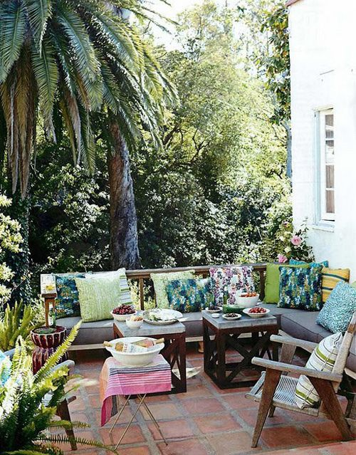 bohemian style outdoor area