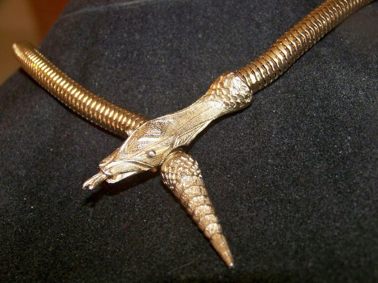 VINTAGE EGYPTIAN REVIVAL JEWELLERY ARTICULATED GOLD SNAKE ASP SERPENT NECKLACE