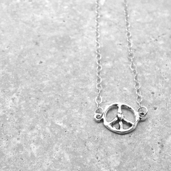 Peace Sign Necklace with Tiny Heart Sterling by GirlBurkeStudios, $27.00
