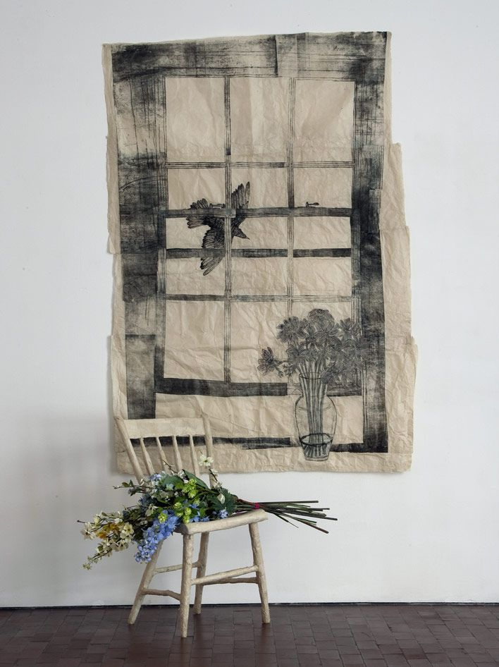 KIKI SMITH    Still Flowers  2008  Installation with chair, flowers, and collage with Nepal paper, pencil and ink  Painting: 200 x 130 cm  Chair: 83 x 36 x 38 cm