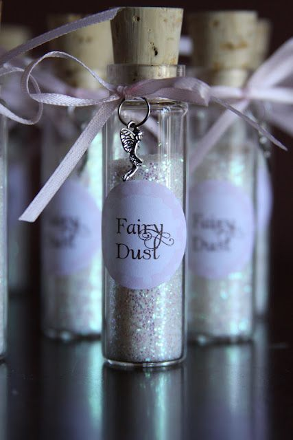 DIY version of these with mini jam jars, glitter and pretty beads, the girls can make their own fairy dust mixture, tie a ribbon tag with their name on and take it home as a gift. Fairy/pixie dust party favor  Woodland Fairy Themed 5th Birthday Party