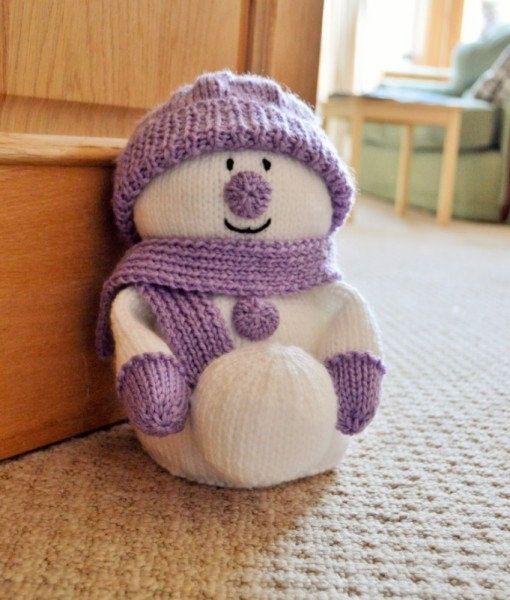 Snowman Door Stop Knitting Pattern, Winter Door Stop Knit Pattern, Winter Snowman Knitting Pattern, Christmas Knitting Pattern by TobyCreates on Etsy