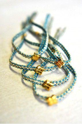 Χειροποίητο Μαρτυρικό Βάφτισης Βραχιόλι Gold Straw in Blue