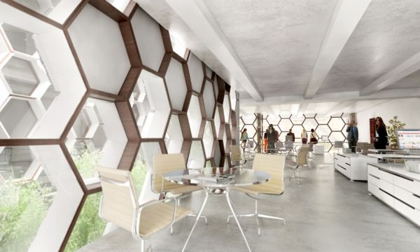 La ruche active buro rh architecture skin for Buro interior design