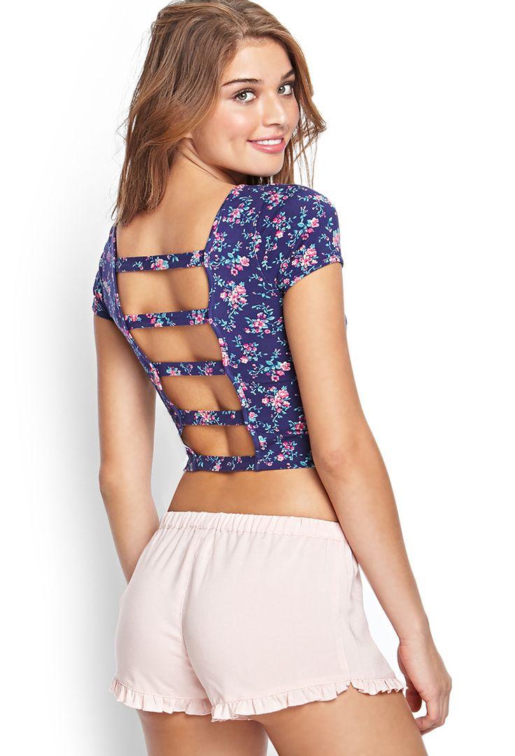 Feli: Croptops con cortes en la espalda con estampado de flores o colores enteros