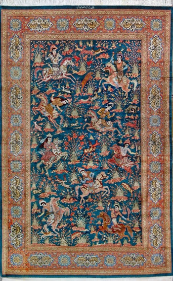 """#Rugs from around the world inspirational ideas for your #renovation project - stunning colours.. Qum Persian Rug, Buy Handmade Qum Persian Rug 4' 2"""" x 6' 8"""", Authentic Persian Rug $5,250.00 http://www.myrenovationstore.com"""