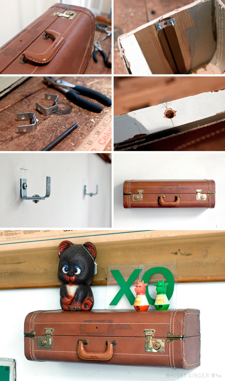 how to make a vintage suitcase shelf