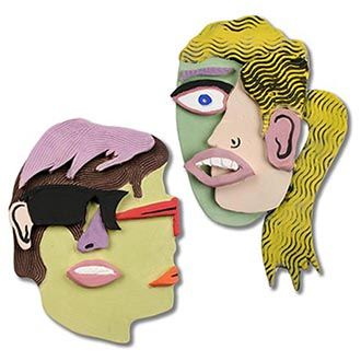 Amaco lesson  plans for ceramics in the classroom.  Great ideas for working with the Amaco glazes. Photo of finished cubist style portraits