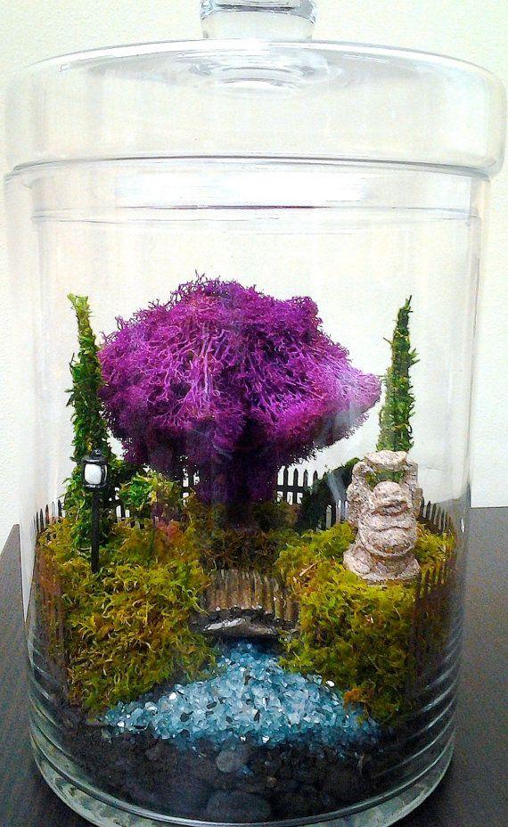 Moss Terrarium X Large Garden Purple Tree by HopHouseTerrariums, $150.00