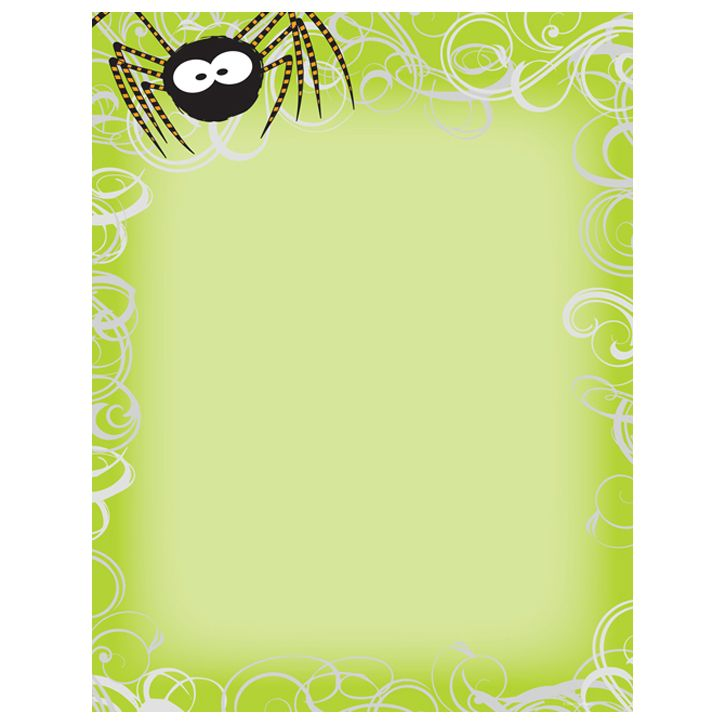 This Halloween printer paper features a whimsical black spider on the top corner of the sheet, with a swirls border, on a bright green background, and offers plenty of room in the middle of the sheet for customizing with your own message. The 8 1/2″ x 11″ stationary paper runs smoothly through inkjet printers, laser printers and copiers.