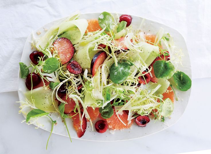 Fruit Salad with Watercress & Fennel: Vinaigrette, ¼ cup – olive oil, 1 tbsp – fresh lemon juice, ¼ tsp – flaky sea salt, Process Vinaigrette, Whisk oil, lemon juice and salt in a small bowl to combine; set aside, Salad: ¼ – small honeydew melon, rind removed, very thinly sliced 1 – plum, sliced into thin wedges ½ cup – halved pitted fresh cherries ½ cup – unseasoned rice vinegar ½ – small fennel bulb, thinly sliced *For the full recipe, visit our website!
