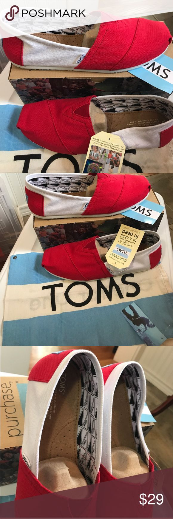 Toms classics canvas University of Oklahoma 9.5 Classics Red and White very summery and crisp. New in box 📦  Light weight canvas slipons, the shoe that made TOMS famous! University of Oklahoma or other schools with Red and White TOMS Shoes Loafers & Slip-Ons