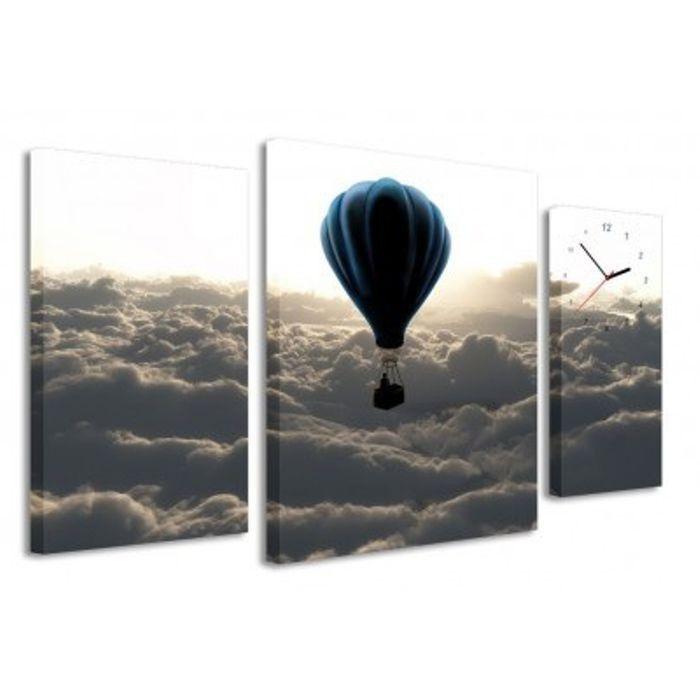 Zegar obraz 4MyArt Ballon on the sky, 95 x 60cm | sklep PrezentBox - akcesoria, zegary ścienne, prezenty