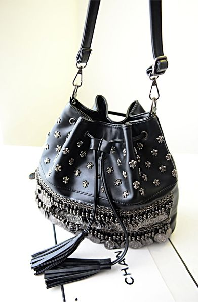Black Shoulder Bags  Euro America Star Punk Style Black Pulling Ropes Rivets Decorated Soft Casual Women Shoulder Bag Discount Online Shopping