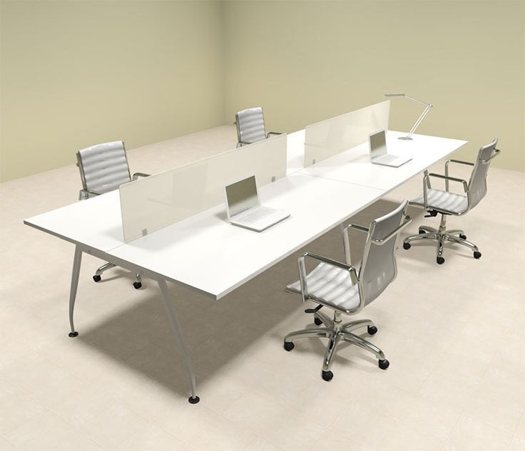 Office Table For 4 Person: Four Person Modern Acrylic Divider Office