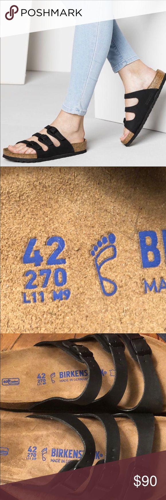 NEW Birkenstock Florida Black LADIES 11 / MEN 9 Birkenstock Florida Leather Soft Footbed Jet Black SZ 42 - LADIES 11 / MEN 9 NEW NEVER WORN BUT NO BOX  PRISTINE CONDITION Shoes Sandals