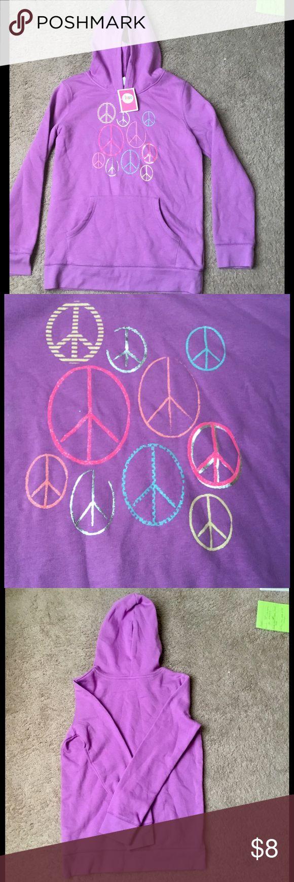 🍭🍭NWT Purple CIRCO Hoodie with Peace Signs 🍭🍭 NWT CIRCO Girls Purple Hoodie with peace signs.  Size XL 14/16. Circo Shirts & Tops Sweatshirts & Hoodies
