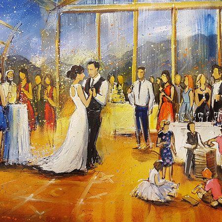 Wedding painting close up by Firebird Live Art. @ubcboathouse  #wedding #weddingideas #weddingentertainment #vancouverwedding #weddingpainting #weddingart #liveart #livepainting