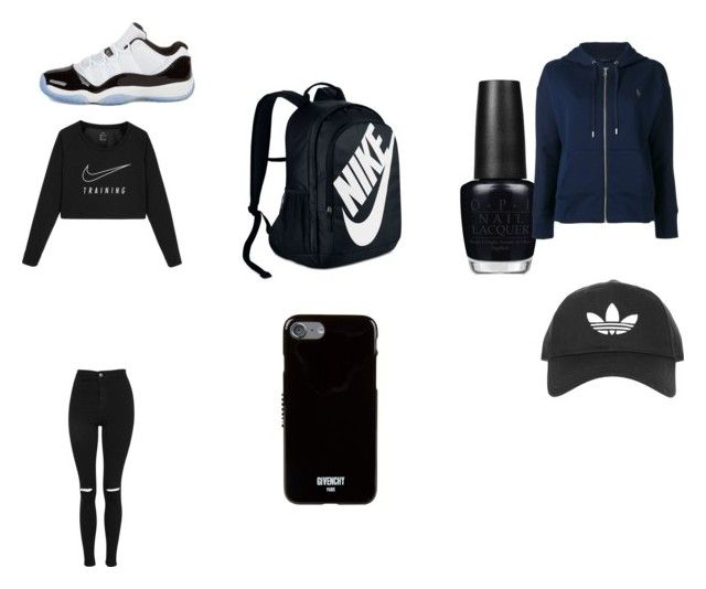 """""""black and white"""" by princessziah1 on Polyvore featuring NIKE, Topshop, OPI, Concord, Givenchy, Polo Ralph Lauren and adidas"""