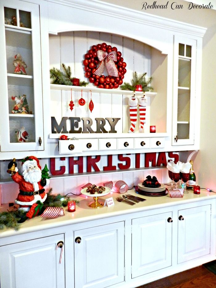 Such a pretty Christmas hutch!