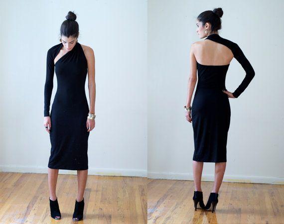Black One-Shoulder Pencil Dress / Midi Dress / marcellamoda Signature Design  This will probably be the next dress I buy.