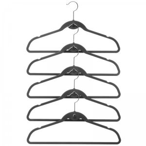 """100 Pack clutterFREE Cascade Hangers (Black) (9.5""""H x 19.25""""W x .25""""D). The Black 100 Pack clutterFREE Cascade Hangers are ultra narrow with a built-in cascade hook for the ultimate in space-friendly closet hangers! Made of metal with a velvety flock surface, these non slip hangers keep garments on the rod where they belong and off the floor. The durable, flexible design of these slim hangers allows them to support even heavy items like coats and jackets. The smooth, gentle curves keep…"""