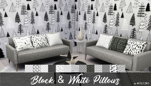 Sims 4 CC's - The Best: BLACK & WHITE PILLOWS by MSQ Sims