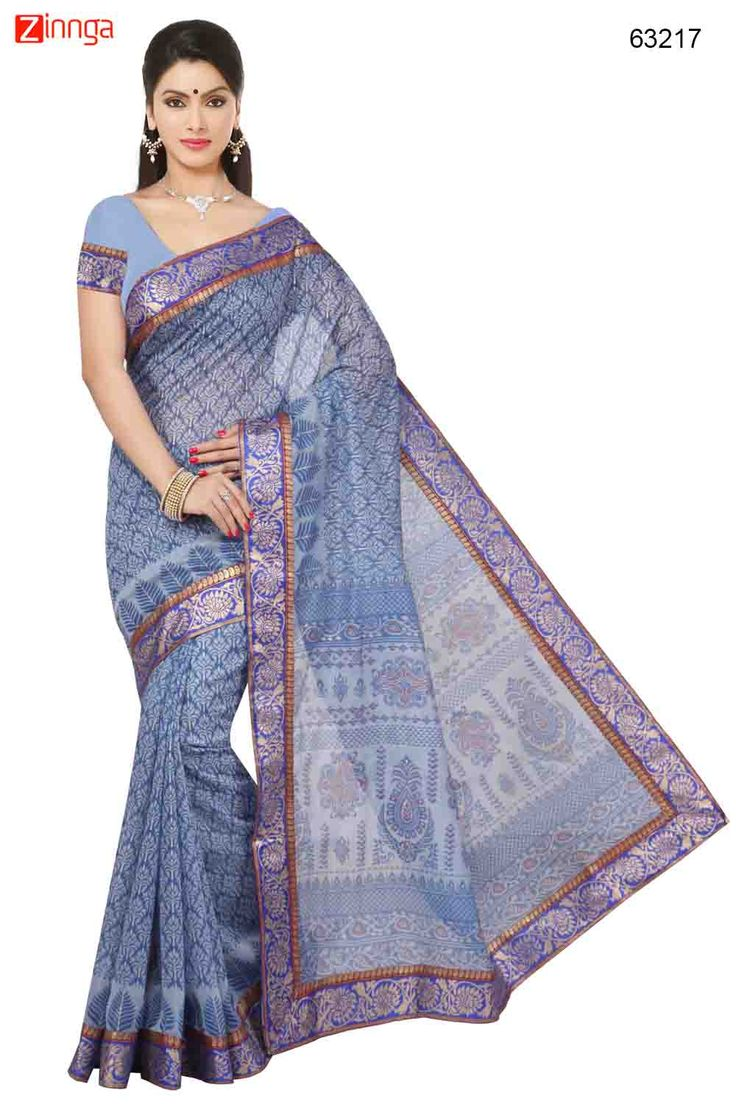 Navy Blue Saree With Gorgeous Printed Pallu. Message/call/WhatsApp at +91-9246261661 or Visit www.zinnga.com